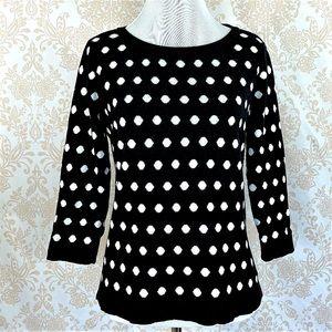 Liz Claiborne black/white polka dot sweate…